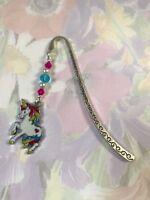 CUTE UNICORN BOOKMARK Tibetan Silver with enamel charm lovely present gift bag