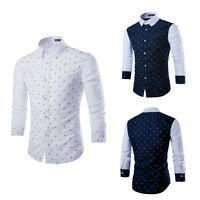 Luxury Men's Casual Long Sleeve Slim Fit Shirt Dress Shirt Tops Stylish Fashion
