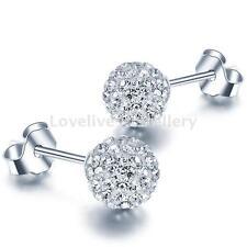 Fashion Women 925 Sterling Silver Shiny 8MM CZ Crystal Ball Ear Stud Earrings