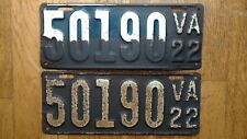 1922 Virginia License Plates Tags Pair VA