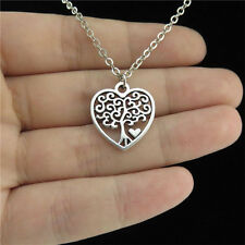 """1-4 18"""" Silver Collar Chunky Necklace Child Women Heart Curly Leaf Tree Pendant"""