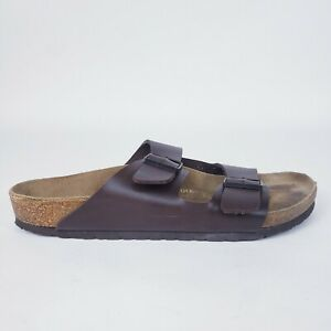 Birkenstock 300 M13 46 Brown Leather Two Strap Slip-On Sandals ~ Mens - Read