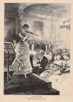Die Virtuosin Geigenspielerin Konzert HOLZSTICH von 1886 Genrebild