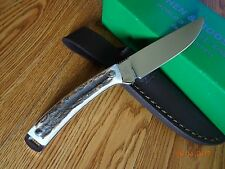 "HEN & ROOSTER 7 1/4"" HR-5019 STAG HANDLE HUNTER BOWIE KNIFE WITH LEATHER SHEATH"