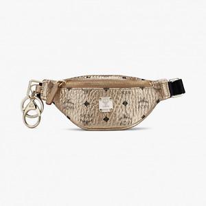$350 MCM Berlin Gold Visetos Mini Belt Bag Charm Key Ring MXZASVI15T1001