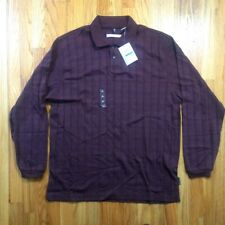 Men's Geoffrey Beene botton Pullover maroon Size Large NEW
