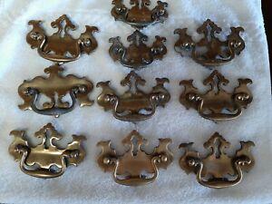 Vintage Brass Dresser Drawer Pulls, Ten total