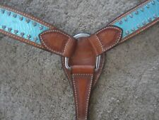 BAR H EQUINE stunning BREAST COLLAR W/ METALLIC TURQUOISE ONLAY + CLEAR CRYSTALS