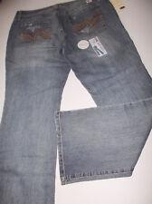 Lei  Felicia Low Rise  Boot Cut Jeans Faded Light Blue Torn  SZe 17 Waist 37