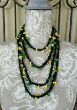 Bohemian Rasta Necklace Long Beaded Necklace Green Yellow Beads N62