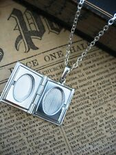 Rabbit Hare  Book Photo Frame LOCKET Necklace Pendant  Wicca Silver Wicca Purple