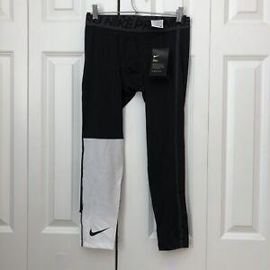 Nike Pro Mens 3/4 Compression Training Tights Black/White Block Size Medium