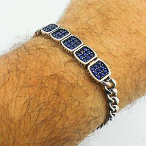 Cuban Link 925 Sterling Silver Sapphire Stone Men's Luxury Bracelet