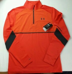 Under Armour Mens 1/4 Zip Shirt Fitted Top Large Red STORM1 Training Pitch