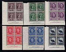 1942-4 KING GEORGE VI PRE-DECIMAL STAMP IMPRINT CORNER BLOCKS OF 4 MUH/MLH #E24