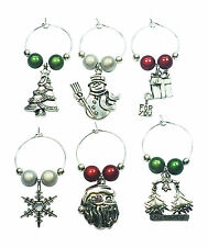Merry Christmas Wine Glass Charms - 3 Different Gift Options - FREE P&P