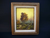 Oil Painting Trees by the Stream Landscape on Board Vintage 8x10 Original Signed
