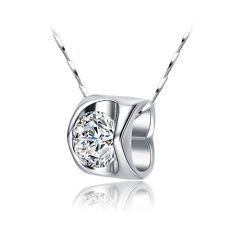 Halskette 925er Sterling Silber Swarovski Elements Anhänger Zirkonia rhodiniert