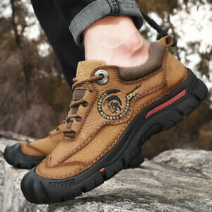 Mens Leather Walking Hiking Shoes Waterproof Ankle Boots Trainer Outdoor Size