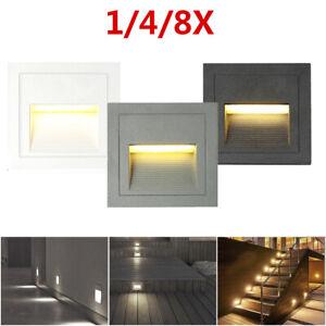 1/4/8Pcs 85-265V 3W IP65 Outdoor Wall Plinth Stair Step Hall Lamp Corner Lights