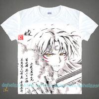 Unisex Men Casual Shirts  White Anime InuYasha Short Sleeve T-Shirt Tops #C27
