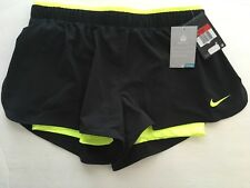 NWT Nike Dri-Fit Size L Running Misses Shorts Athletic Black Neon Running