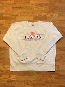 VTG Champion NCAA Clemson Tigers Paw Law Spellout Crewneck Sweater Rare Adult XL