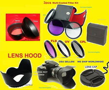 CAMERA LENS ADAPTER+FILTER KIT+HOOD+CAP 72mm AptTo FUJI S1800 S1850 S1880 S2500+
