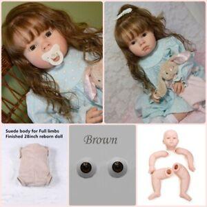 Unpainted 28 inch 70cm Reborn Toddler Doll Kits Set + Eyes + Cloth Body for DIY