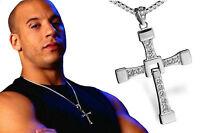 Halskette Kreuz Anhänger Vin Diesel Toretto Silber Schmuck Geschenk Herren Neu