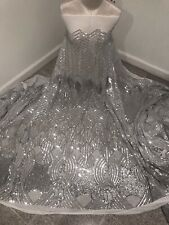"""Silver White 4way stretch sequin Lace fabric 50"""" Width 3 Yard"""