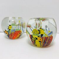 Vintage Murano? Art Glass Hand Blown Fish Aquarium Candle Holders Paperweights