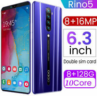 Rino5 Mobile Phone 6.3Inches 8G RAM + 128GB ROM Smart Phone