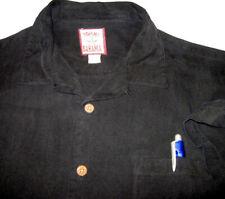 🌴TOMMY BAHAMA 100% Silk Hawaiian Shirt (L) Solid Black Coconut Buttons w/Pocket