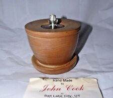 HAND-MADE BY JOHN COOK UTAH WOOD PILLAR LAMP OIL CANDLE HOLDER