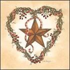 Art Print, Framed or Plaque by Linda Spivey - Barn Star Heart Wreath - LS697-R