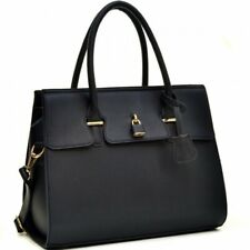 Dasein Buffalo Faux Leather Padlock Satchel With Shoulder Strap