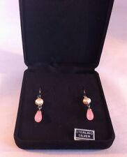 Sterling Silver Pink Coral / Mother Of Pearl Earrings In Display Box