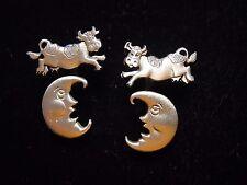 """""""JJ"""" Jonette Jewelry Silver Pewter COW Jumps Over the MOON 3-D Pierced Earrings"""