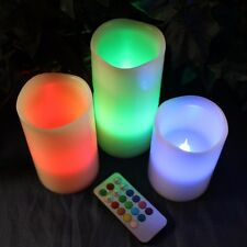 "3pc LED Flameless Candles 4"" 5"" 6"" Pillar 12 Color Changing w/ Remote Glow NEW"