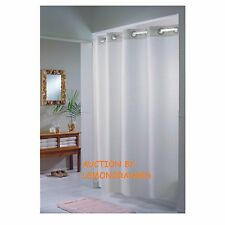 NEW HOOKLESS TEXTURED BOX PRINT PLAINWEAVE WHITE FABRIC SHOWER CURTAIN