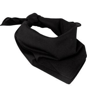100% Cotton Black Bandana - 54cm Square Neckerchief Unisex Army Neck Scarf