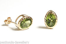 9ct Gold Peridot Stud Earrings Gift Boxed Studs Made in UK