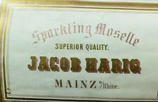 1870's-80's Sparkling Moselle Jacob Harig Mainz, German Wine Bottle Label F92