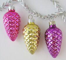 Set 3 Fir Cone Vintage Xmas Decor Christmas Russian Glass Pink Purple Ornament