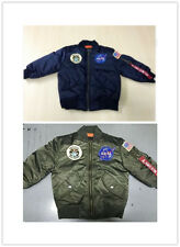Kids MA1 TOP GUN PILOT Girls US air force Boys ARMY NASA Flight Bomber Jacket ..