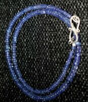 925 Sterling Silver Blue Iolite Round Gemstone 18 Inch Strand Necklace PO-851