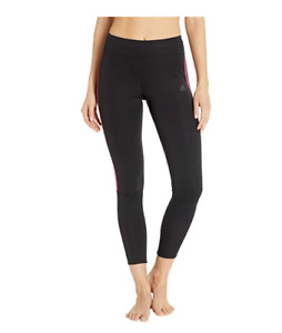 Adidas Women Run Three Stripes Long Tights Black/Real Magenta Size S 2992