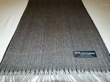 100% Cashmere Scarf Soft 72X12 Black Gray Scotland Wool Herringbone Plaid Men