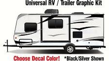 RV Graphic Kit Black / Silver vinyl sticker decal stripes Toy Hauler Trailer sxs
